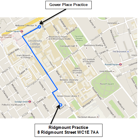 Map of Route from Gower Place Practice to New Premises Ridgmount Practice